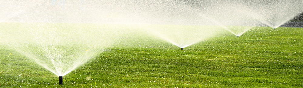 Irrigation system design & installation in action. A yard with lawn sprinklers is a happy yard.