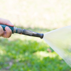 water lawn maintenance with hose